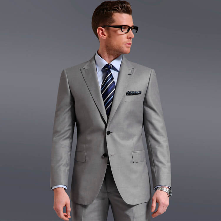 Plain Grey Two-Button Suits