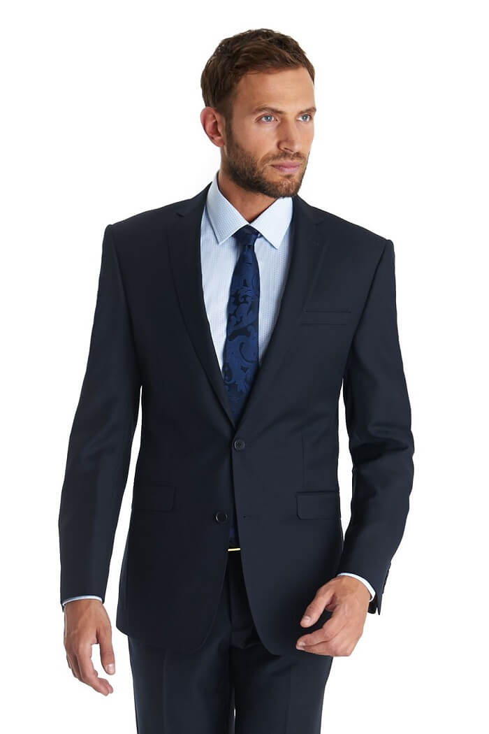 Plain Navy Two-Button Suit - Types of Suits for Men