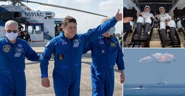 SpaceX Crew Dragon landed on earth