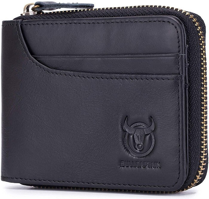 BULLCAPTAIN Genuine Leather Zipper Wallet